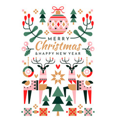 colorful festive christmas greeting card design vector image