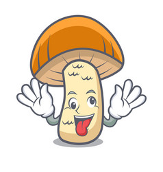 crazy orange cap boletus mushroom mascot cartoon vector image