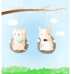 cute baby cat and dog watercolor style vector image
