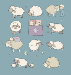 Cute cartoon sheep set farm animals funny lambs vector