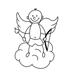 cute cupid in cartoon style icon vector image vector image