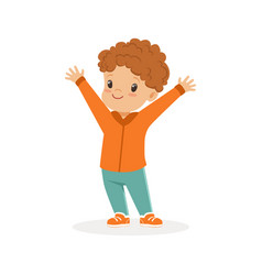 cute smiling redhead little boy cartoon vector image