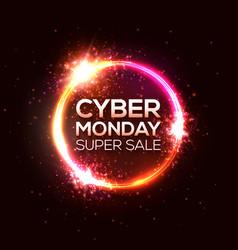 cyber monday super sale neon discount card design vector image