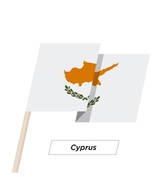 Cyprus Ribbon Waving Flag Isolated on White vector image