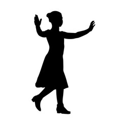 dancing little girl silhouette vector image