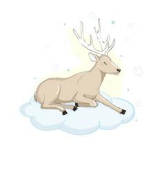 Deer cartoon designcute bambi animal merry vector