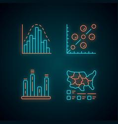 Diagrams neon light icons set histogram bar graph vector