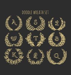 Doodle wreath set vector