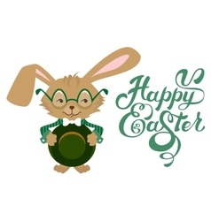 Easter bunny wearing glasses Happy Easter text vector image