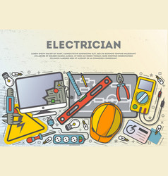 electrician workplace top view banner vector image