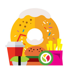 Fast food flat style colorful cartoon vector