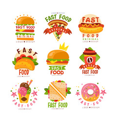 Fast food logos set food and drink menu burger vector