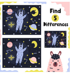 Find 5 differences activity game for kids vector