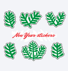 fir branches stickers new year clipart vector image