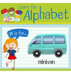 Flashcard letter M is for minivan vector image