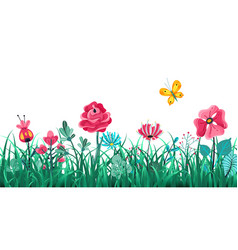 floral grass border green flowers spring field vector image