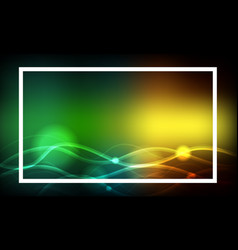 Frame template design with colorful lights vector