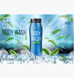 frozen men body wash gel with mint leaves and ice vector image