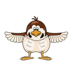Funny cartoon sparrow with wings widely spreading vector
