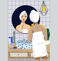 girl takes care her skin in front vector image