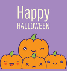 halloween card with kawaii pumpkins vector image