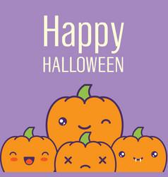 halloween card with kawaii pumpkins vector image