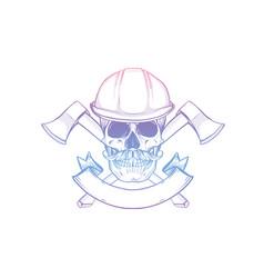 hand drawn sketch skull with helmet vector image