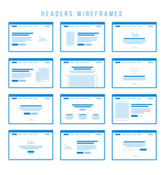 Headers wireframe components for prototypes vector
