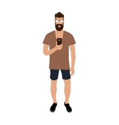hipster man making selfie cartoon character vector image