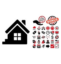 House Porch Flat Icon with Bonus vector image vector image
