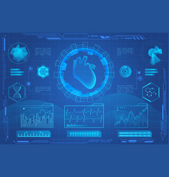 human heart futuristic medical hologram vector image