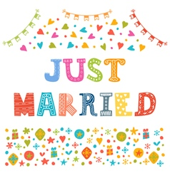 Just married Cute greeting card vector image