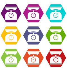 kitchen scales icon set color hexahedron vector image