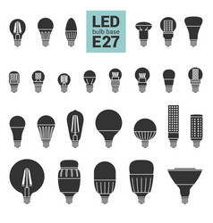 Led light e27 bulbs silhouette icon set vector