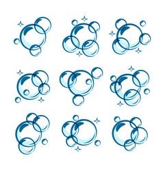 Line soap bubble set vector