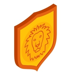 Lion shield icon isometric 3d style vector
