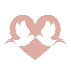 lovebirds silhouette in heart cartoon icon image vector image
