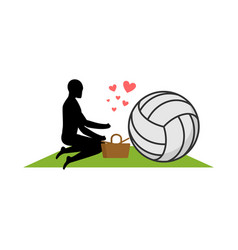 lover volleyball guy and ball on picnic meal in vector image