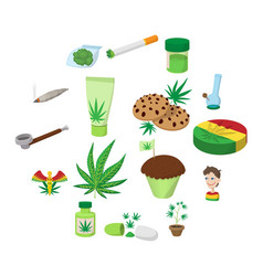 medical marijuana icons vector image