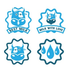 Milk stamps collection with cow face vector
