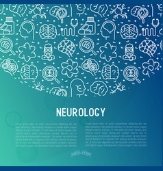 neurology concept with thin line icons vector image
