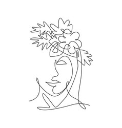 one single line drawing beauty abstract face vector image