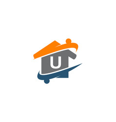 parenting life home care initial u vector image