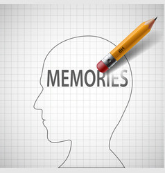Pencil erases in the human head the word memories vector