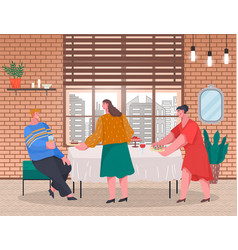 People prepare table and food for home reception vector