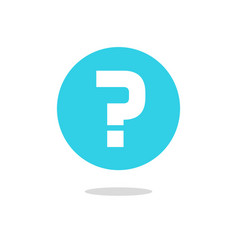 question mark icon on blue round circle vector image