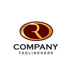 r initial ovale company logo vector image