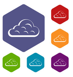 Rainy cloud icons set hexagon vector