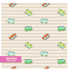 seamless pattern with cartoon vans vector image