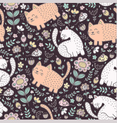 seamless pattern with cute cats and flowers vector image